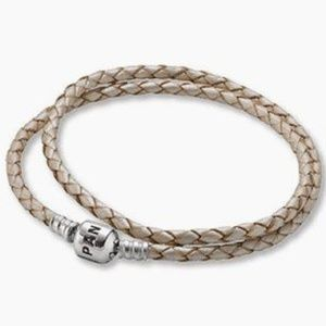 PANDORA Silver & Woven Champagne Leather Double